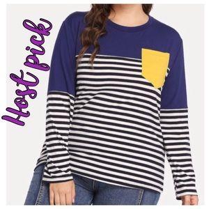 Tops - ➕ Navy Contrast Stripe Tee